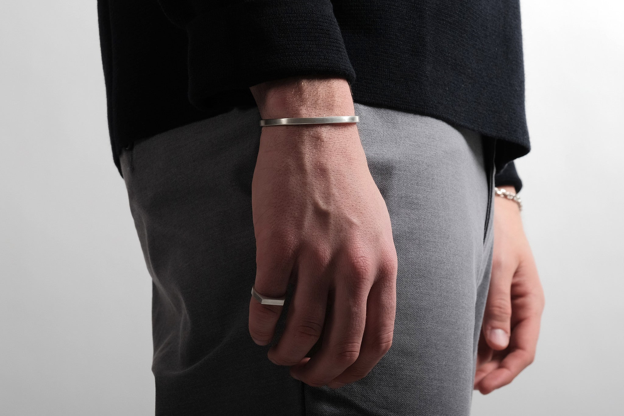 CS 4mm Cuff Bracelet // Sterling Silver - Men's Cuff Bracelet - MUJO NYC - 2