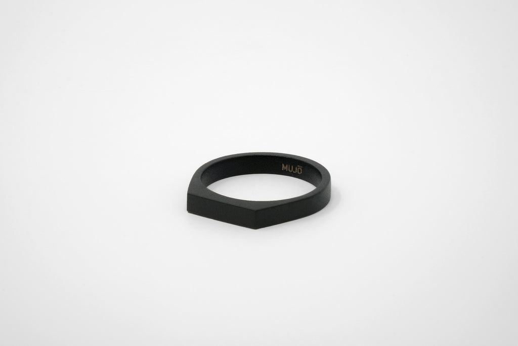 CS 4mm Signet Ring // Matte Black - Men's Ring - MUJO NYC - 1
