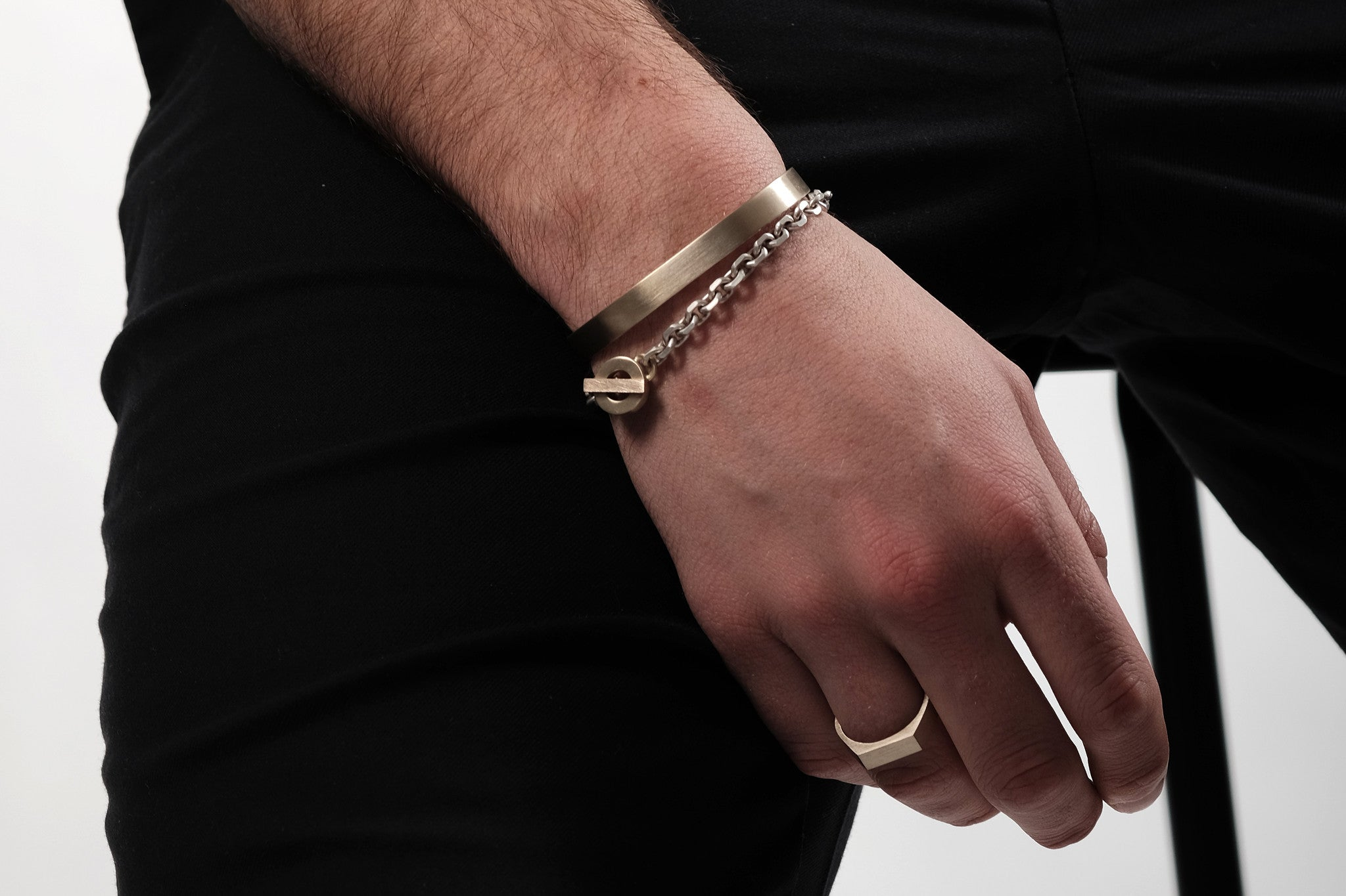 CS 8mm Cuff Bracelet // Brass - Men's Cuff Bracelet - MUJO NYC - 2