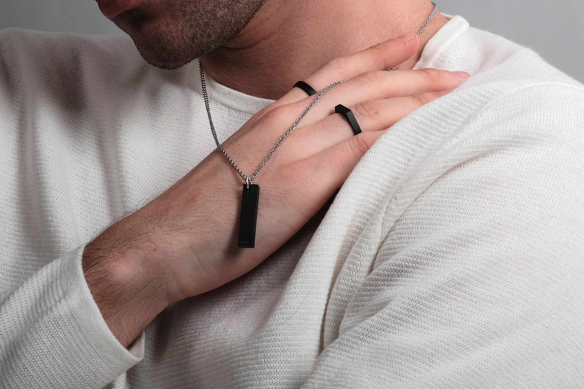 CS 8mm Pendant Necklace // Matte Black - Men's Pendant Necklace - MUJO NYC - 2