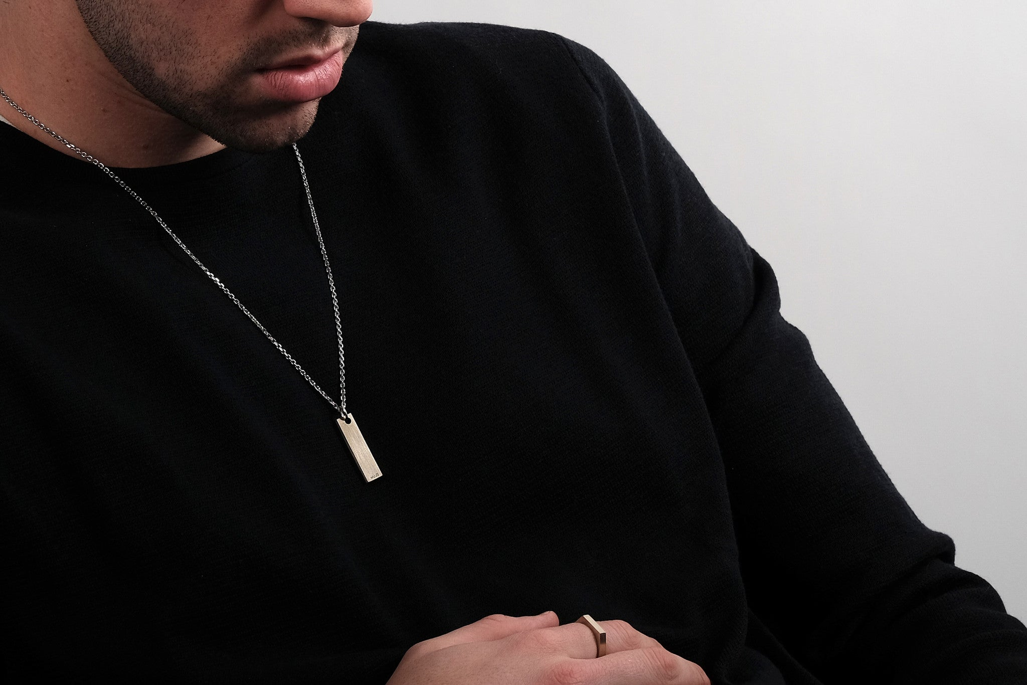 CS 8mm Pendant Necklace // Brass - Men's Pendant Necklace - MUJO NYC - 2