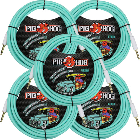 5 New Pig Hog 20 Foot Instrument Cables Seafoam Green