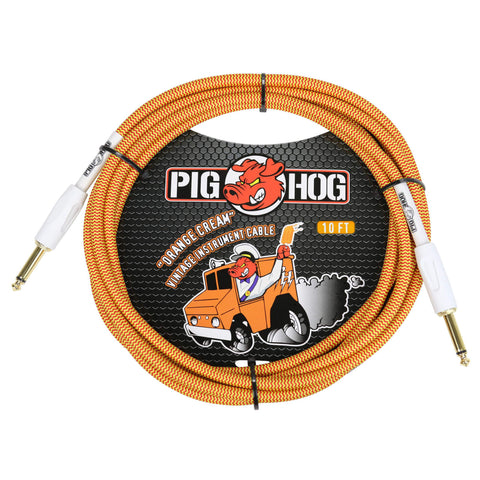 Pig Hog 10 Foot Instrument Cable Orange Cream