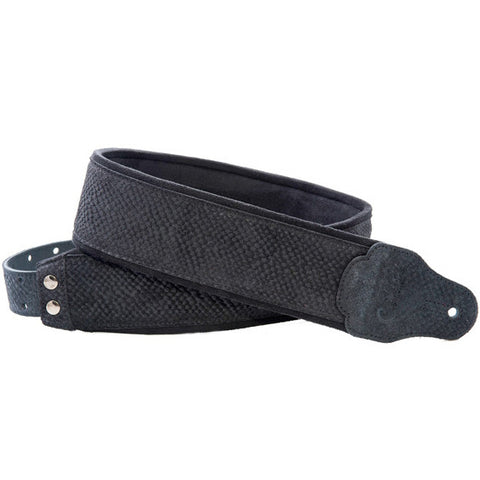 RightOn! Jazz Reptile Black Guitar Strap