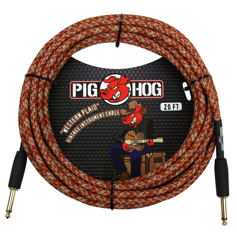 Pig Hog 20 Foot Instrument Cable Western Plaid