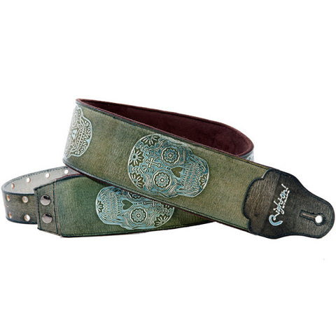 RightOn! Leathercraft Sugar Green Guitar Strap