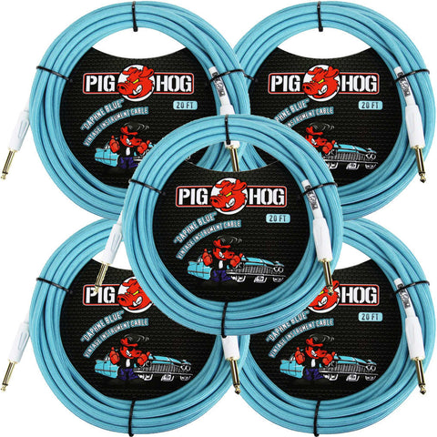 5 New Pig Hog 20 Foot Instrument Cables Daphne Blue