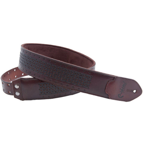 RightOn! Leathercraft Granada Brown Guitar Strap
