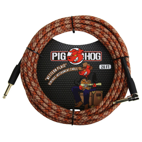 Pig Hog 20 Foot Right Angle Instrument Cable Western Plaid