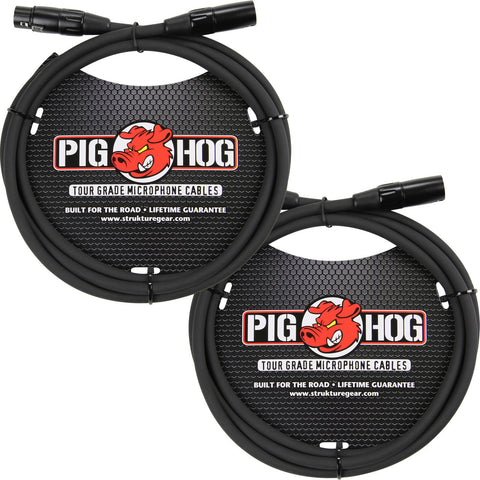 2 New Pig Hog 6 Foot XLR Microphone Cables