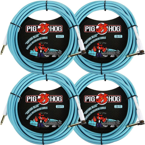 4 New Pig Hog 20 Foot Right Angle Instrument Cables Daphne Blue