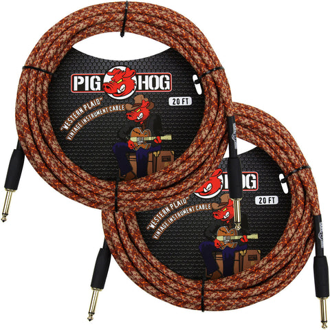 2 New Pig Hog 20 Foot Instrument Cables Western Plaid