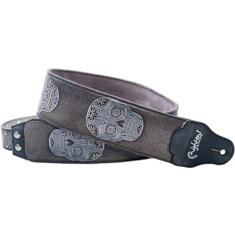 RightOn! Leathercraft Sugar Black Guitar Strap
