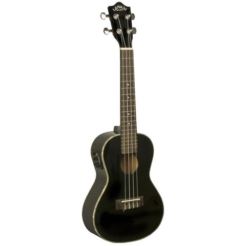 Lanikai LU-21CEK/BK Concert Acoustic-Electric Ukulele with Fishman Kula Preamp Black