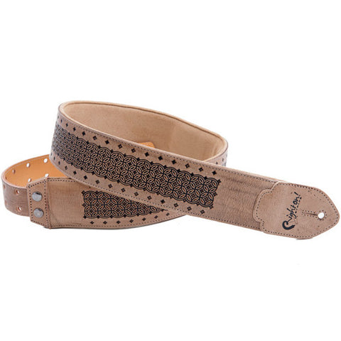 RightOn! Leathercraft Granada Beige Guitar Strap