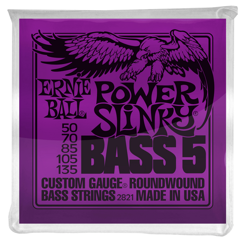 Ernie Ball Power Slinky Five-String Nickel Roundwound Electric Bass Strings 50-135