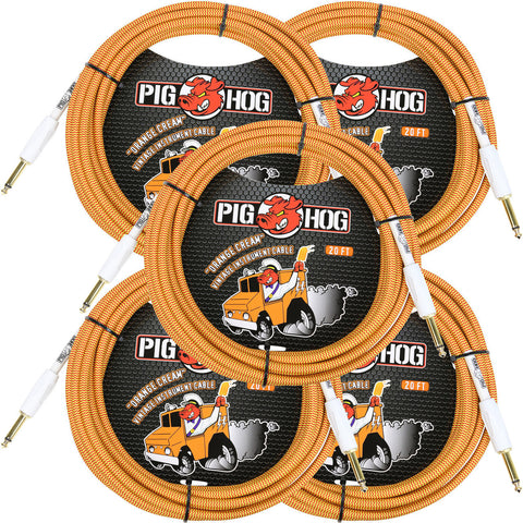 5 New Pig Hog 20 Foot Instrument Cables Orange Cream