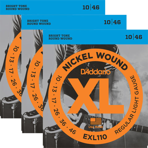 D'Addario EXL110-3D XL Nickel Round Wound Regular Light 10-46 Three Pack