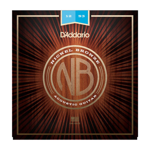 D'Addario Nickel Bronze Acoustic Guitar Strings Light 12-53