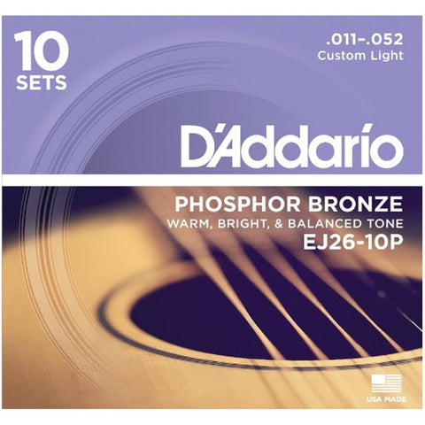 D'Addario EJ26-10P 10 Pack Phosphor Bronze Custom Light 11-52