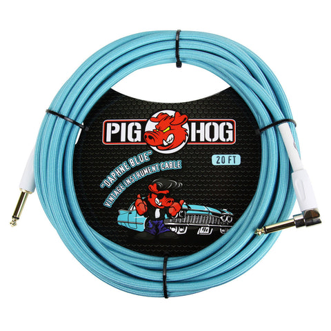 Pig Hog 20 Foot Right Angle Instrument Cable Daphne Blue