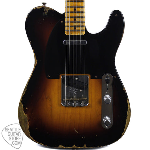 Fender Custom Shop 1951 Heavy Relic Telecaster Faded Two Tone Sunburst Electric Guitar 1550512803