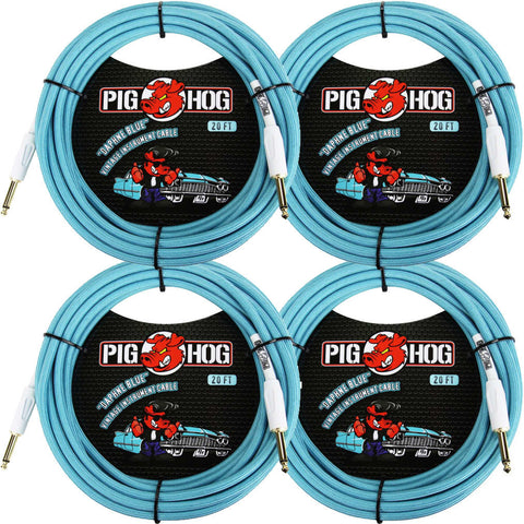 4 New Pig Hog 20 Foot Instrument Cables Daphne Blue