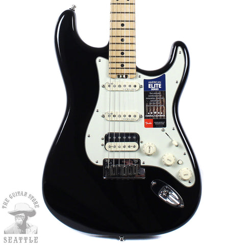 Fender American Elite Stratocaster HSS Shawbucker Maple Fretboard Electric Guitar Mystic Black 0114112710