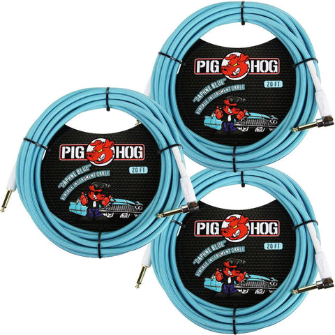 3 New Pig Hog 20 Foot Right Angle Instrument Cables Daphne Blue