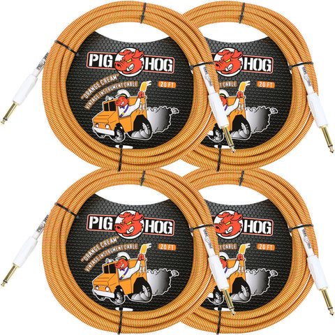 4 New Pig Hog 20 Foot Instrument Cables Orange Cream