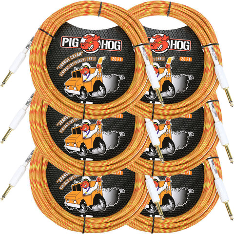 6 New Pig Hog 20 Foot Instrument Cables Orange Cream