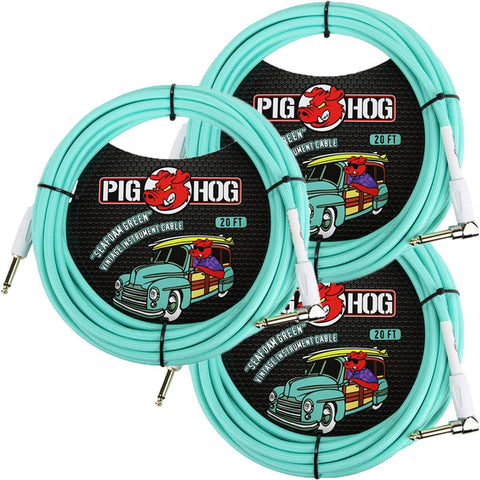 3 New Pig Hog 20 Foot Right Angle Instrument Cables Seafoam Green