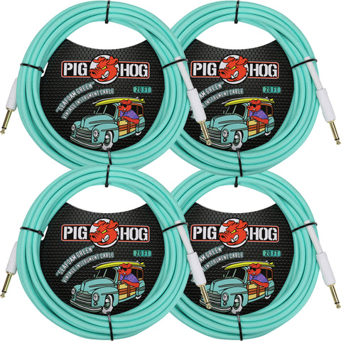 4 New Pig Hog 20 Foot Instrument Cables Seafoam Green