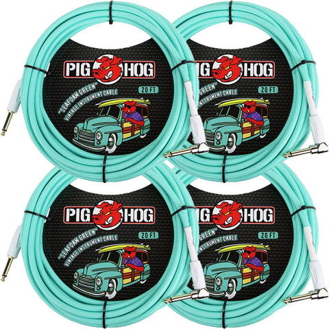 4 New Pig Hog 20 Foot Right Angle Instrument Cables Seafoam Green