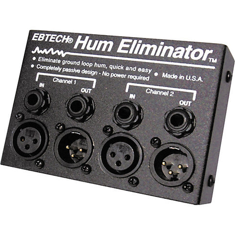 "Ebtech HE-2-XLR Hum Eliminator Two Channel 1/4"" Jacks & XLR"