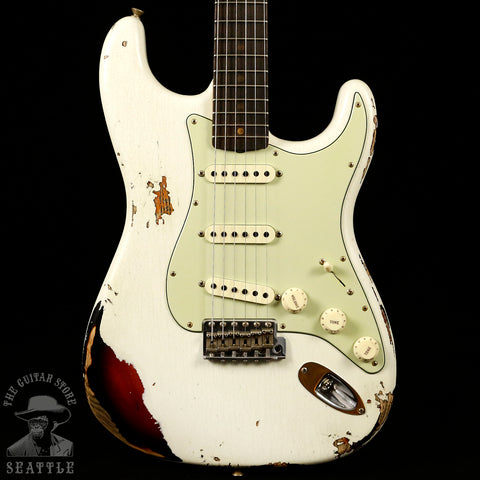 Fender Custom Shop '62 Heavy Relic Strat Olympic White-Three Tone Sunburst