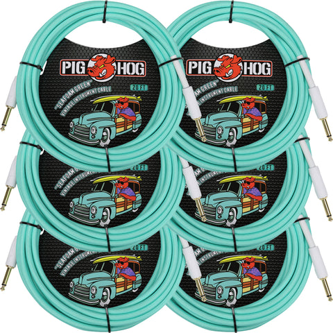 6 New Pig Hog 20 Foot Instrument Cables Seafoam Green
