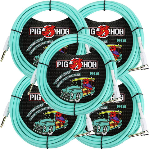 5 New Pig Hog 20 Foot Right Angle Instrument Cables Seafoam Green