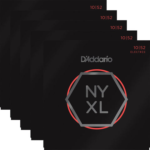 D'Addario NYXL Nickel Wound Light Top/Heavy Bottom 10-52 Five-Pack