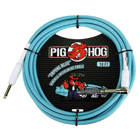 Pig Hog 10 Foot Right Angle Instrument Cable Daphne Blue