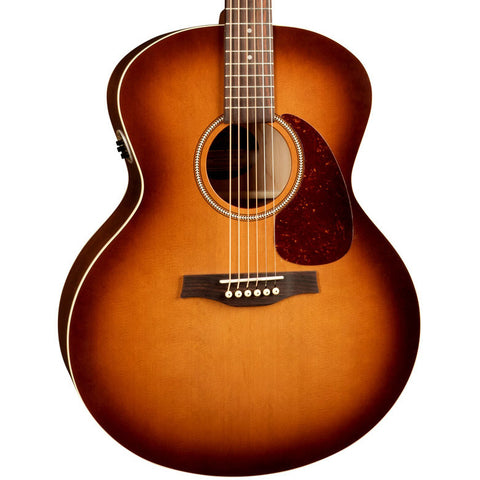 Seagull Entourage Rustic QIT Mini-Jumbo Wild Cherry Solid Cedar Rustic Burst Acoustic-Electric Guitar with Gig Bag
