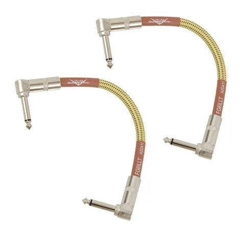 "2 New Fender Custom Shop Tweed 6"" inch Right Angle Patch Cables"