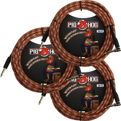 3 New Pig Hog 20 Foot Right Angle Instrument Cables Western Plaid