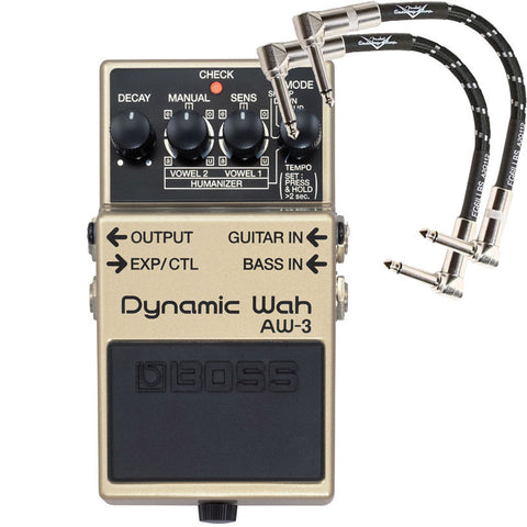 Boss AW-3 Dynamic Wah Pedal with 2 FREE Patch Cables