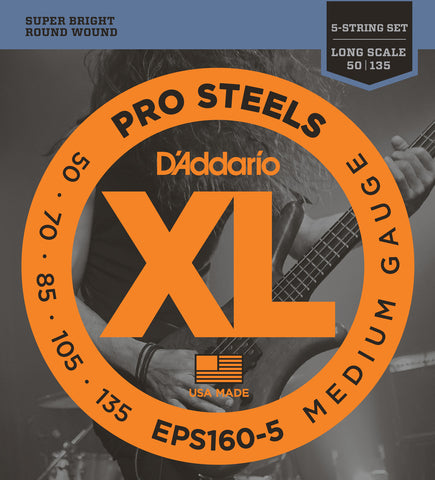 D'Addario EPS160-5 ProSteels 5-String Bass Medium 50-135 Long Scale