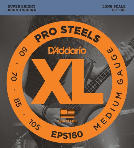 D'Addario EPS160 ProSteels Bass Medium 50-105 Long Scale