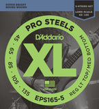 D'Addario EPS165-5 ProSteels 5-String Bass Custom Light 45-135 Long Scale