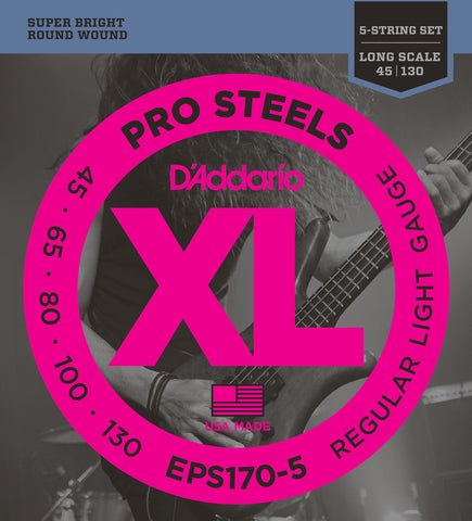 D'Addario EPS170-5 ProSteels 5-String Bass Light 45-130 Long Scale