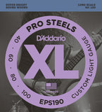 D'Addario EPS190 ProSteels Bass Custom Light 40-100 Long Scale