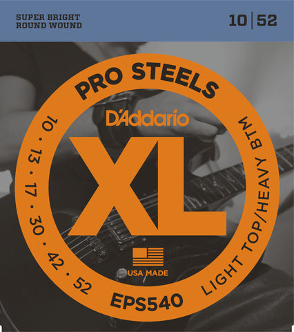 D'Addario EPS540 XL ProSteels Light Top/Heavy Bottom 10-52 Round Wound
